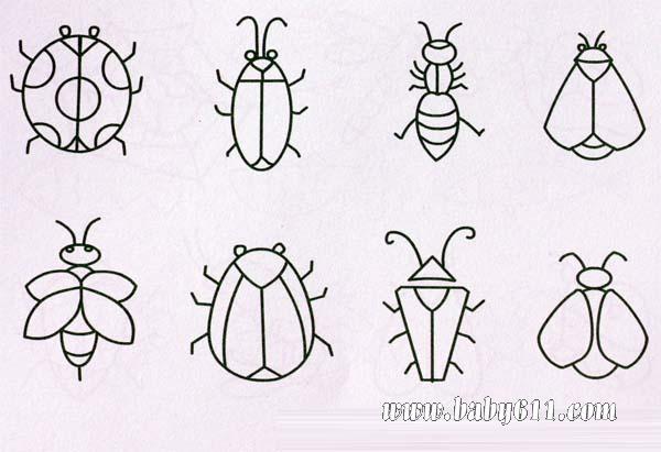 昆虫类简笔画:蜗牛,蜜蜂