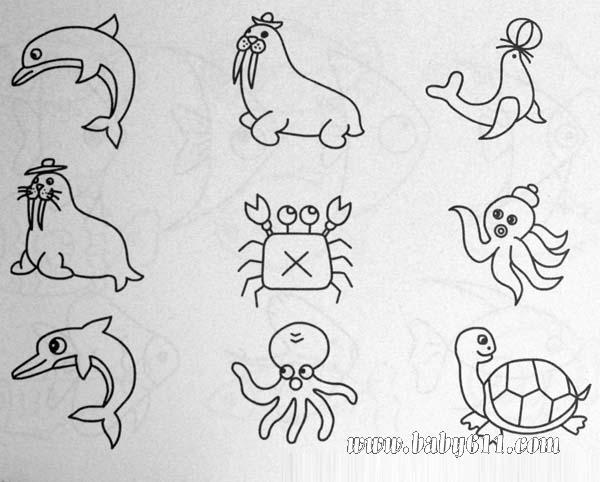 简笔画 海报 海狮 螃蟹 章鱼 乌龟等