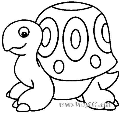 幼儿涂色卡图片:乌龟
