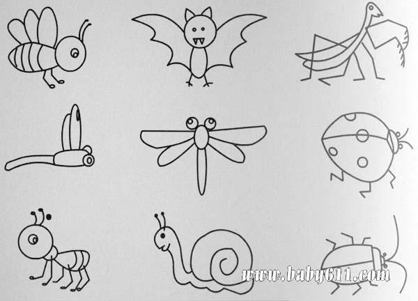 昆虫类简笔画:蜗牛,蜜蜂,蚂蚁等