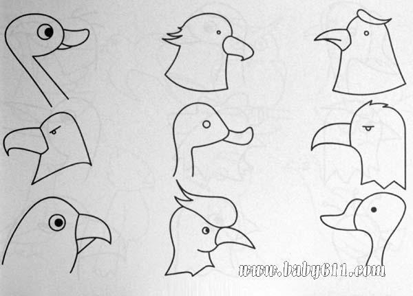 简笔画动物篇:鱼类1   简笔画动物篇:鸭子、鸟、鹦鹉、猫头高清图片