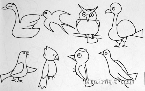 简笔画动物 篇 鸭子 鸟 鹦鹉 猫头鹰 动物 篇 高清图片
