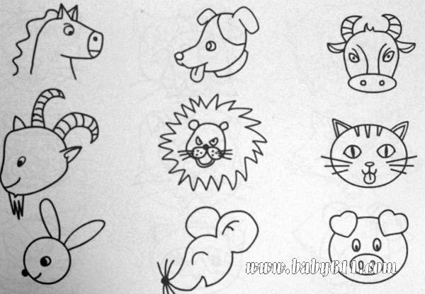 简笔画动物篇:动物头类(老虎
