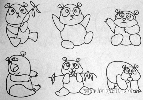 动物简笔画熊猫大全 熊猫简笔画图片大全 卡通熊猫简笔画大全