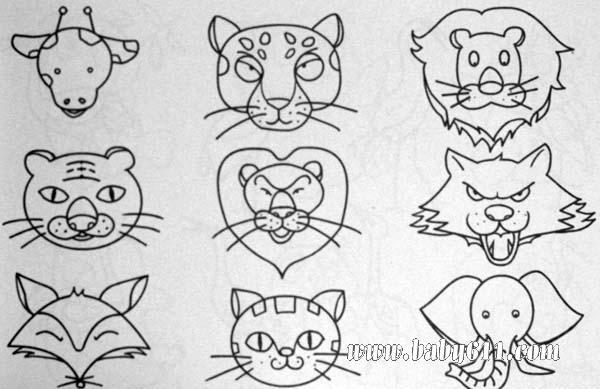 简笔画动物篇 动物头类 狮子 狐狸卡通头饰简笔画