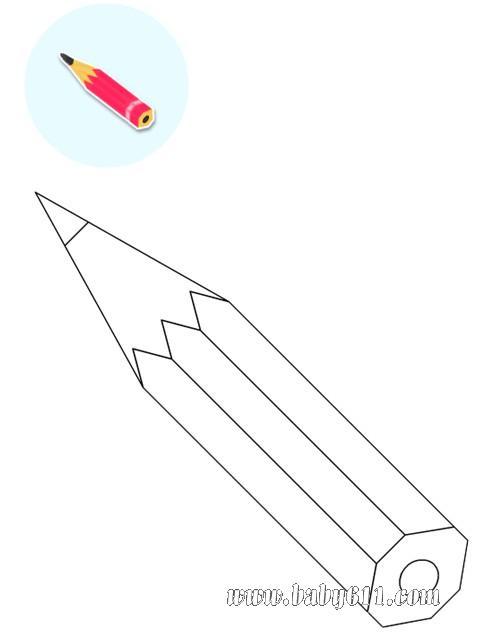 小学美术教案_儿童涂色卡图片:铅笔 - 涂色卡