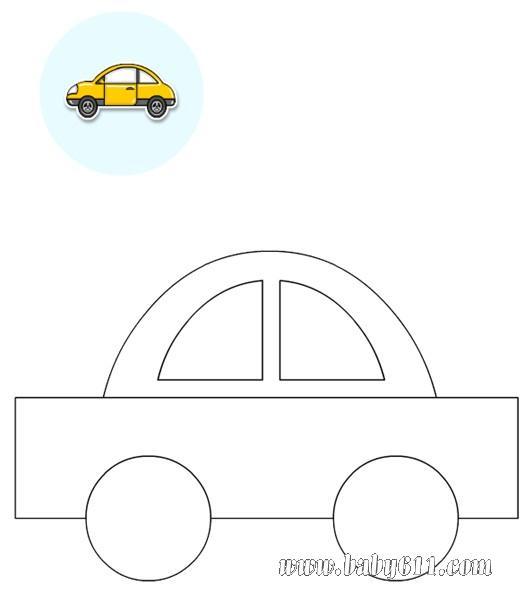 儿童涂色卡图片:小汽车