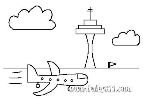 儿童简笔画:飞机起飞