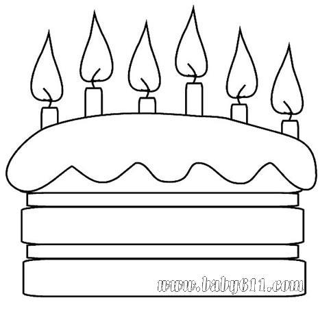 兒童涂色卡圖片:生日蛋糕; 兒童蛋糕簡筆畫大全; 兒童填色圖片;