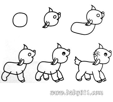 幼儿园大班简笔画 小狗