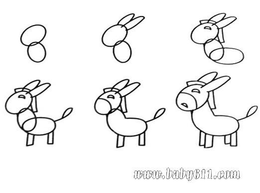 幼儿园大班简笔画 驴