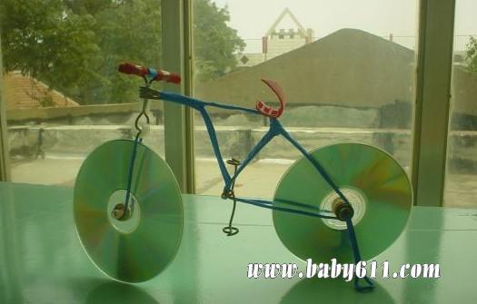 儿童手工废旧光盘制作:光盘自行车吾太绘卷练功房图纸图片