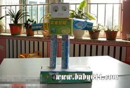 儿童手工废旧纸盒制作:机器人
