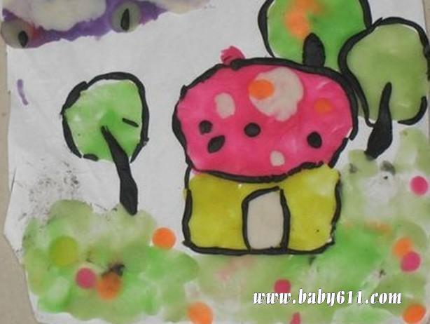 橡皮泥手工作品贴画:树;; 橡皮泥贴画是利用橡皮泥制作的浮雕装饰画.