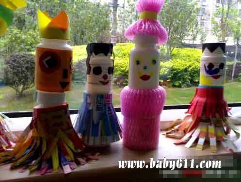 儿童手工废旧瓶子制作:娃娃