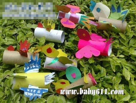 儿童手工废旧纸筒制作:小鸟