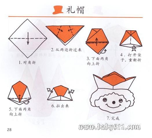幼儿手工折纸:礼帽