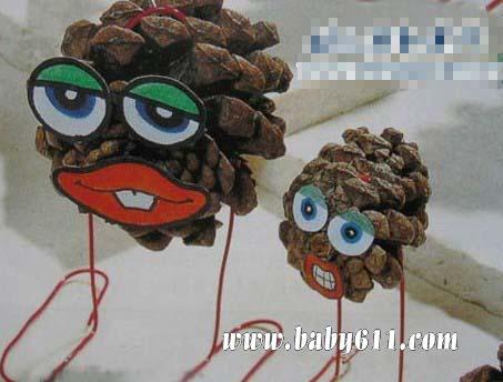 儿童手工废旧松果制作:小娃娃