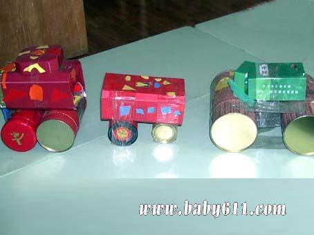 儿童手工废旧罐子制作 小汽车图片