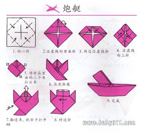 幼儿园中班故事大全_幼儿手工折纸:炮艇 - 儿童手工折纸