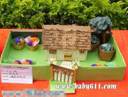 用卡纸做手工小房子,手工小房子制作过程,用筷子制作手工小房子,
