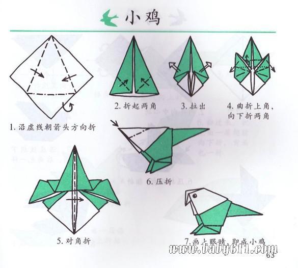 幼儿手工折纸:小鸡图片