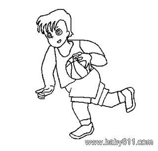 儿童简笔画:打篮球