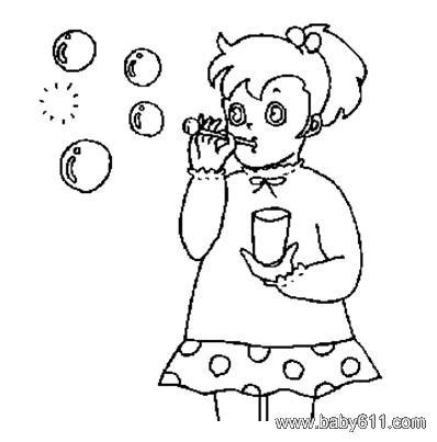 儿童简笔画:小女孩吹泡泡