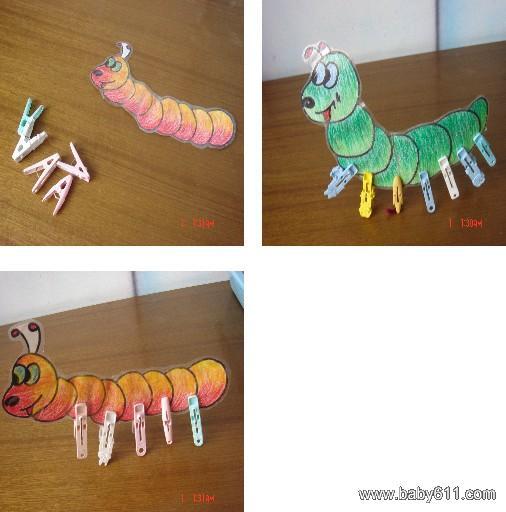 幼儿园托班手工制作:毛毛虫装脚