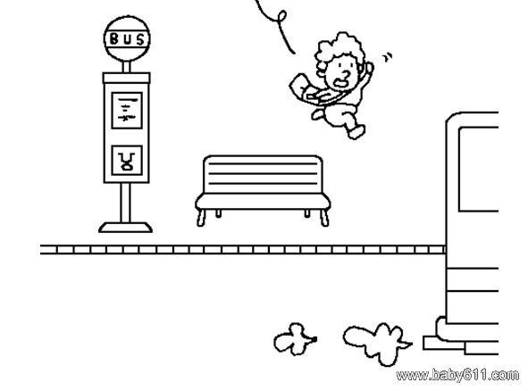儿童简笔画 公交站台1
