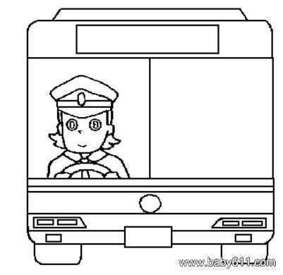 儿童简笔画 公交车正面