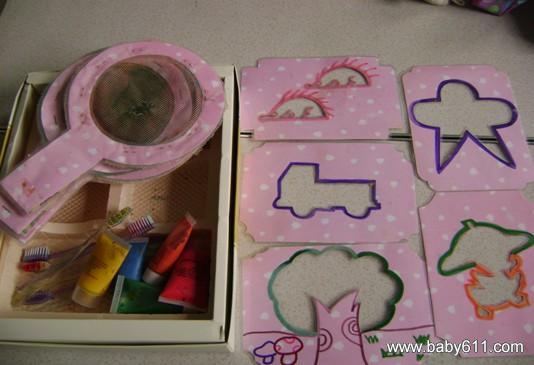 幼儿园大班手工废旧制作:刷画游戏