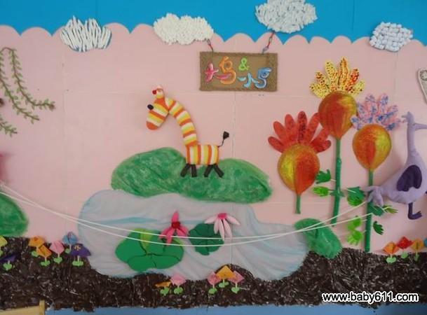 幼儿园春天小班主题墙饰图片:大鸟和小鸟