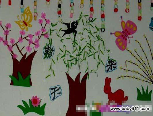 幼儿园春天主题墙装饰:春天来
