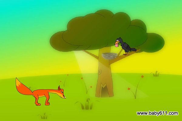 幼儿园故事flash动画课件:乌鸦和狐狸