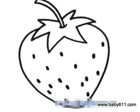 幼儿园水果简笔画:草莓