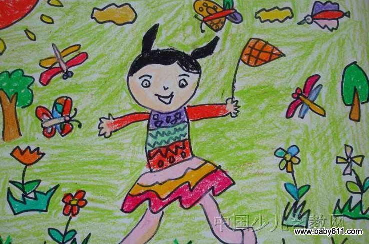 幼儿园美术作品:我去捉蝴蝶