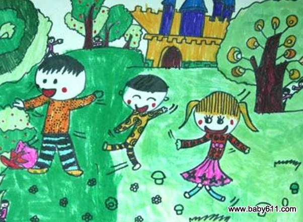 幼儿园美术作品:我们做游戏图片