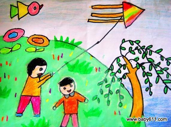 幼儿园美术作品:放风筝的时候