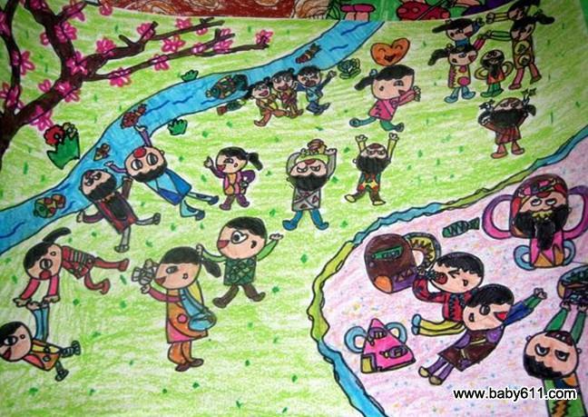 幼儿园美术作品:放风筝的时候         幼儿绘画作品:雨中的