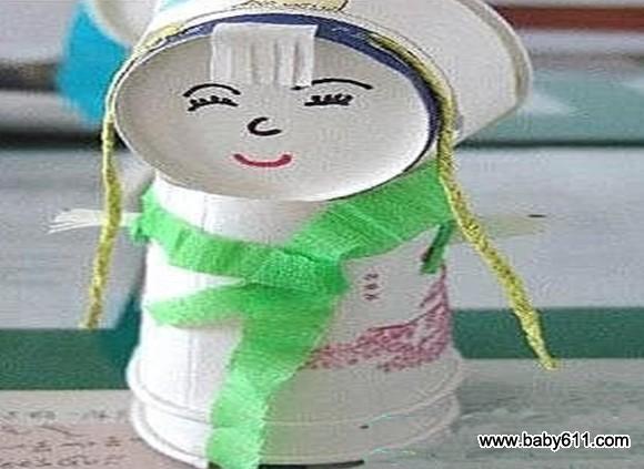 幼儿废旧一次性纸杯制作《纸杯娃娃》(4)