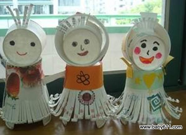 幼儿废旧一次性纸杯制作《纸杯娃娃》(5)