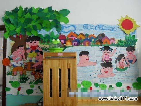 幼儿园夏天墙壁装饰图片:游泳