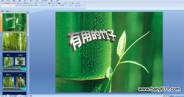 幼儿园大班科学活动ppt课件:有用的竹子