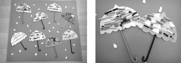 """活动目标1.综合运用折、搓、剪、贴等多种技能进行装饰。   2.能有创意的设计、装饰小雨伞。   3.体验装饰成果的喜悦。   活动准备与幼儿共同收集有不同花纹、图案的伞,布置""""小雨伞""""展览。   教师自制的大雨伞,《小雨伞》游戏卡(见幼儿操作包)。   各种糖纸、广告纸、彩纸、皱纹纸,彩色吸管,固体胶,双面胶,剪刀等。   歌曲《大雨小雨》(见音乐光盘CD)。   活动与指导欣赏与幼儿参观""""小雨伞""""展览,引导幼儿观察伞的不同花纹与图案。   教师"""