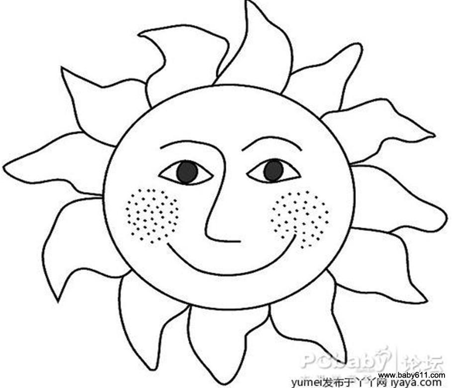 儿童涂色卡图片:太阳; 幼儿画画涂色_幼儿绘画涂色_幼儿简单涂色画