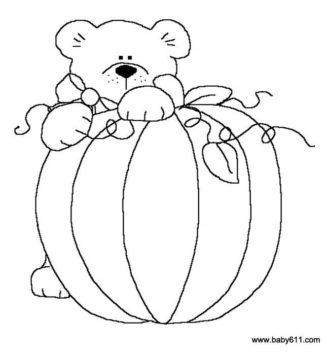 儿童涂色卡图片:小熊抱南瓜