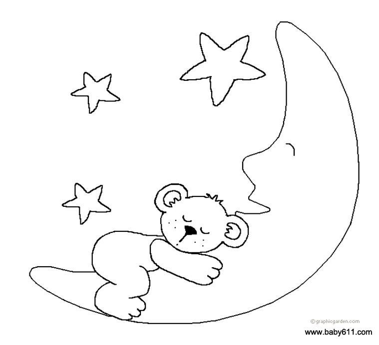儿童涂色卡图片:小熊和月亮