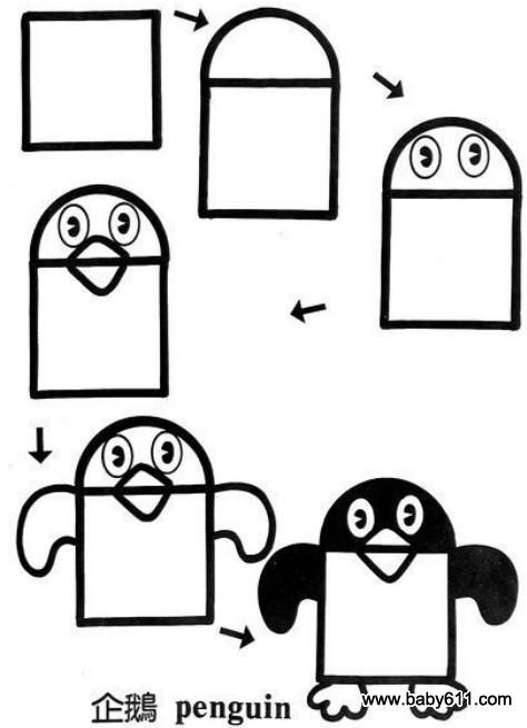 儿童益智简笔画:企鹅 penguin