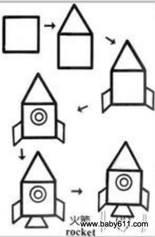 儿童益智简笔画:火箭 rocket